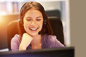 Young woman in a call centre