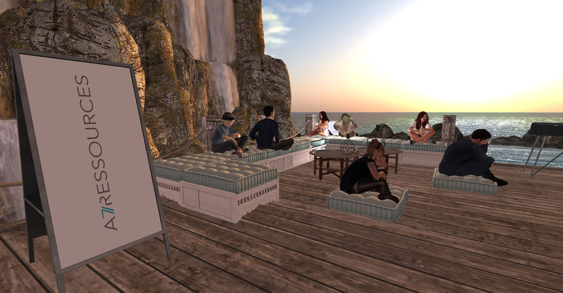 avatars near the ocean on a team building activity
