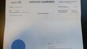 Certificat agrément A7