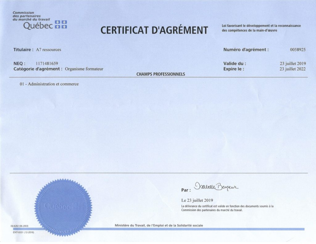 Training Organization Certificate 2019-2022
