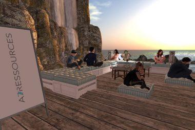 avatars near the ocean on a team building activity